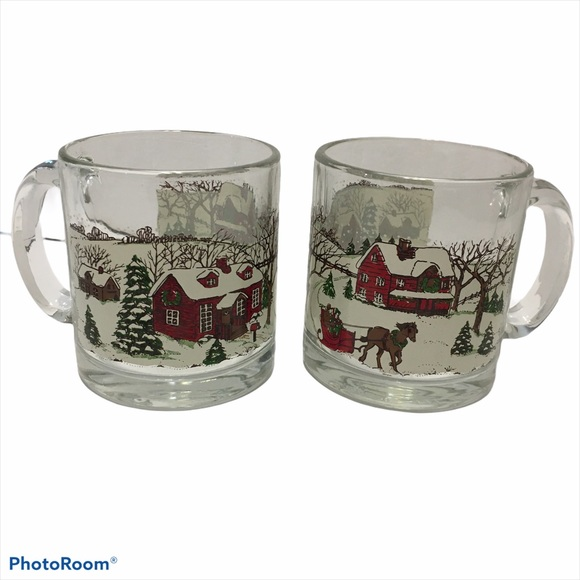 Vintage libbey Christmas Coffee Mugs Clear Glasses